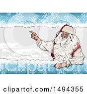Santa Claus Pointing Over A Village Scene With Snowflakes