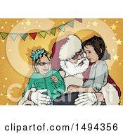 Santa Claus Talking To Children In His Lap