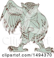 Clipart Of A Sketched Great Horned Owl Holding A Spartan Helmet Royalty Free Vector Illustration by patrimonio