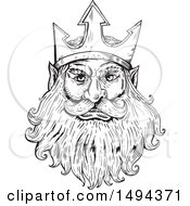 Clipart Of A Black And White Sketched Head Of Poseidon Neptune Or Triton Royalty Free Vector Illustration