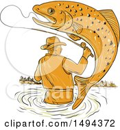 Sketched Fly Fisherman Reeling In A Trout Fish