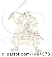 Clipart Of A Sketched Samurai Warrior Fighting With A Katana Sword Royalty Free Vector Illustration by patrimonio