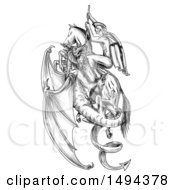 Scene Of St George Riding A Horse And Killing A Dragon In Tattoo Sketched Style On A White Background