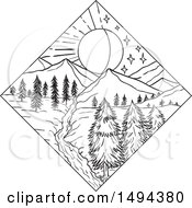 Clipart of a Split Night and Day Landscape in a Diamond - Royalty Free Vector Illustration by patrimonio #COLLC1494380-0113