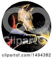 Clipart Of A Welding Wolf In A Circle In Woodcut Style On A White Background Royalty Free Illustration by patrimonio