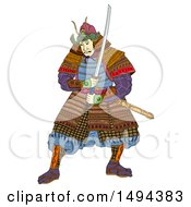 Clipart of a Japanese Samurai Warrior, in Woodcut Style, on a White Background - Royalty Free Illustration by patrimonio #COLLC1494383-0113