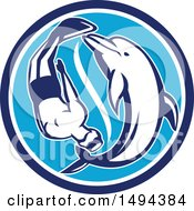 Clipart Of A Diver And Dolphin Swimming In Yin Yang Formation Within A Circle Royalty Free Vector Illustration