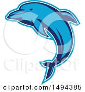 Clipart Of A Jumping Blue Dolphin With An Outline Royalty Free Vector Illustration by patrimonio