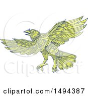 Clipart Of A Mandala Styled Raven Flying Royalty Free Vector Illustration