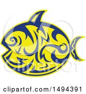 Clipart Of A Tribal Styled Sunfish Common Mola Royalty Free Vector Illustration