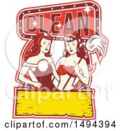 Clipart Of A Retro 1950s Style Design Of Sexy Female Maids Royalty Free Vector Illustration