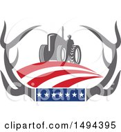 Poster, Art Print Of Farmer Operating A Tractor In Whitetail Deer Antlers With American Stars And Stripes