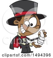 Clipart Of A Cartoon African American Magician Boy Performing A Card Trick Royalty Free Vector Illustration by toonaday