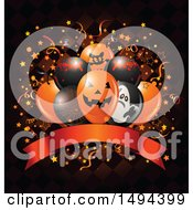 Clipart Of A Halloween Party Balloon Bouquet Over A Banner And Checkers With Confetti Royalty Free Vector Illustration