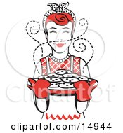 Red Haired Housewife Wearing An Apron And Oven Gloves Smelling Fresh Hot Chocolate Chip Cookies Right Out Of The Oven Clipart Illustration