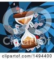 Clipart Of A Rose Keys And Hourglass With Playing Cards In A Checkered Rabbit Hole Royalty Free Vector Illustration by Pushkin