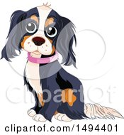 Clipart Of A Cute Spaniel Dog Sitting And Wearing A Pink Collar Royalty Free Vector Illustration
