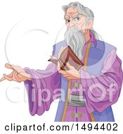 Gray Haired Wizard Presenting And Reading A Book