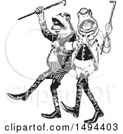 Clipart Of Black And White Gentlemen Frogs Marching Or Dancing Royalty Free Vector Illustration