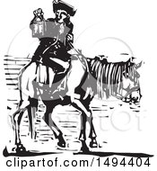 Clipart Of A Colonial Man Holding A Lantern On Horseback Black And White Woodcut Royalty Free Vector Illustration