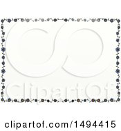 Poster, Art Print Of Doodled Border Of Flowers On A White Background