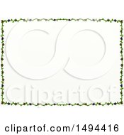 Doodled Border Of Floral Vines On A White Background
