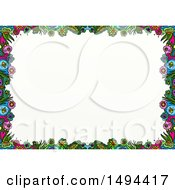 Poster, Art Print Of Doodled Border Of Colorful Flowers On A White Background