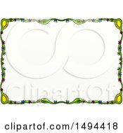 Doodled Border Of Suns And Flowers On A White Background