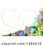 Watercolor Flower Border On A White Background