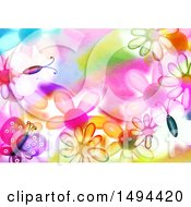 Poster, Art Print Of Watercolor Butterfly And Flower Background