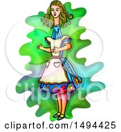 Watercolor Styled Alice In Wonderland With A Long Neck On A White Background