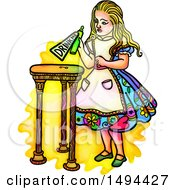 Watercolor Styled Alice In Wonderland Holding A Potion With A Drink Me Label On A White Background