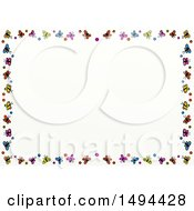 Doodled Border Of Colorful Butterflies On A White Background