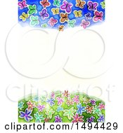 Watercolor Border Of Butterflies On A White Background