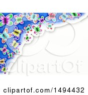 Clipart Of A Watercolor Border Of Butterflies On A White Background Royalty Free Illustration by Prawny