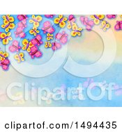 Clipart Of A Watercolor Butterfly Background Royalty Free Illustration