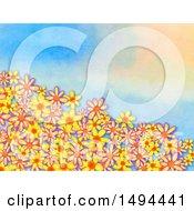 Poster, Art Print Of Watercolor Flower Border