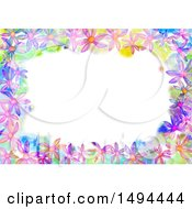 Poster, Art Print Of Watercolor Flower Border On A White Background