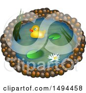 Clipart Of A Yellow Duck On A Pond On A White Background Royalty Free Illustration