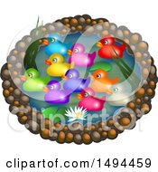 Clipart Of A Pond With Colorful Ducks On A White Background Royalty Free Illustration