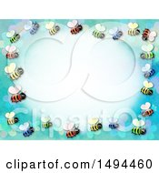 Clipart Of A Border Of Bees On A Blue Background Royalty Free Illustration