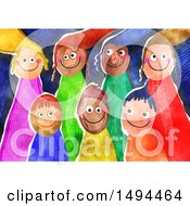 Clipart Of A Group Of Watercolor Happy Children Royalty Free Illustration by Prawny