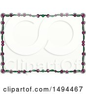 Clipart Of A Doodled Border Of Green And Pink On A White Background Royalty Free Illustration