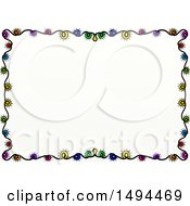 Clipart Of A Doodled Border Of Colorful Christmas Lights On A White Background Royalty Free Illustration