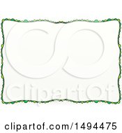 Doodled Border Of Green Scales Or Scallops On A White Background