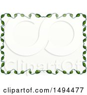 Doodled Border Of Leaves On A White Background