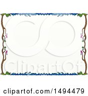 Clipart Of A Doodled Border Of Waves Birds And Trees On A White Background Royalty Free Illustration