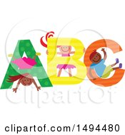 Clipart Of A Group Of Children Playing In Colorful ABC Royalty Free Vector Illustration