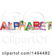 Clipart Of A Group Of Children Playing In The Colorful Word Alphabet Royalty Free Vector Illustration