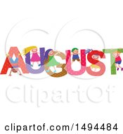 Clipart Of A Group Of Children Playing In The Colorful Word For The Month Of August Royalty Free Vector Illustration